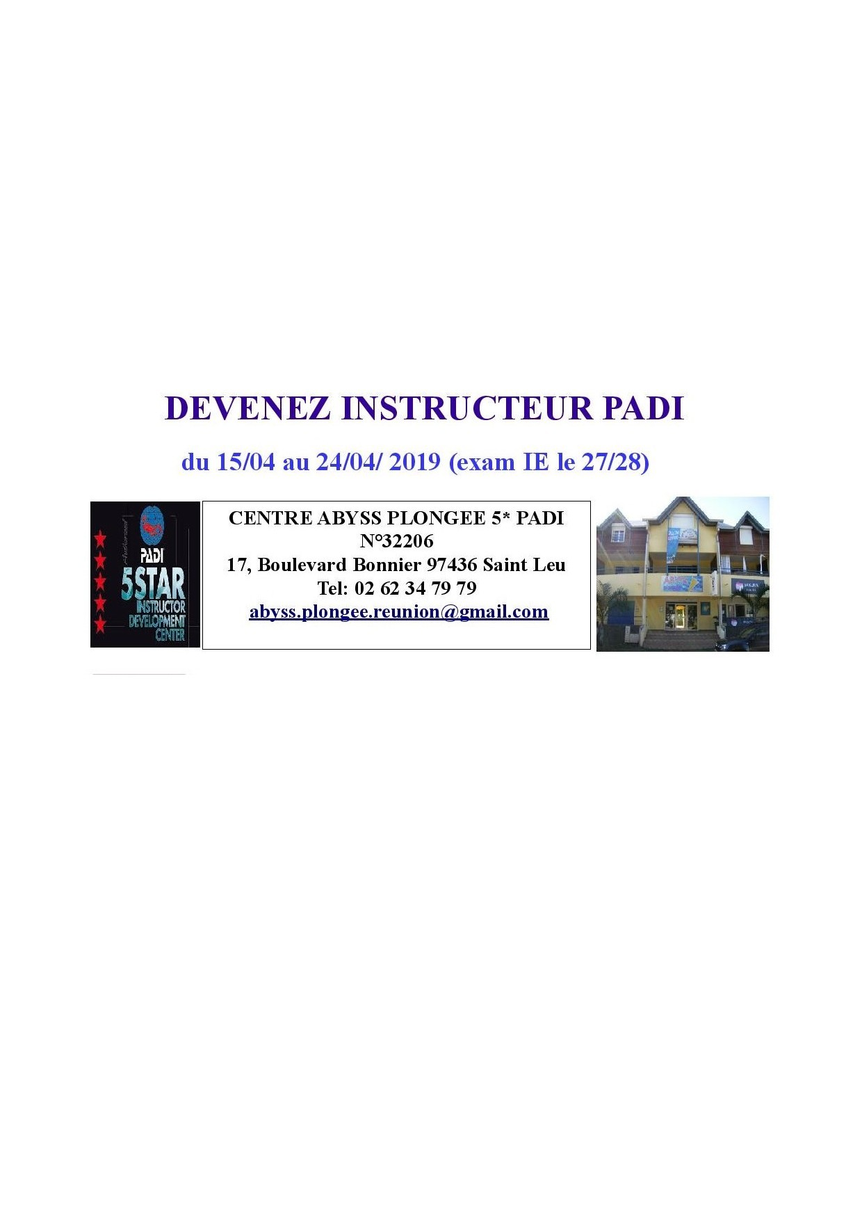 27 et 28 AVRIL 2019 STAGE INSTRUCTEUR PADI