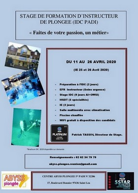 STAGE INSTRUCTEUR PADI